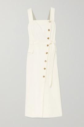 Nanushka Moun Belted Denim Wrap-effect Midi Dress - White