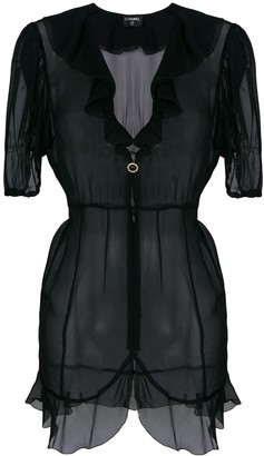 Chanel Pre-Owned sheer ruffled blouse