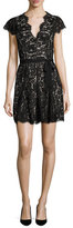 Joie Sloane Cap-Sleeve Lace Dress, Caviar w/ Nude
