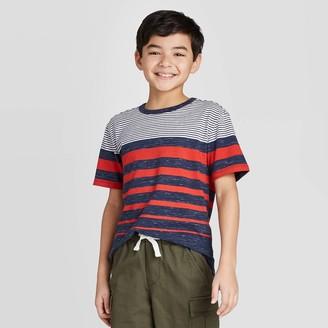 Cat & Jack Boys' Short Sleeve Stripe T-Shirt - Cat & JackTM Red/White/Blue
