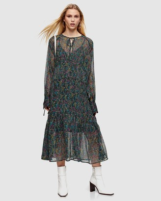 Topshop Ditsy Chuck On Chiffon Midi Dress