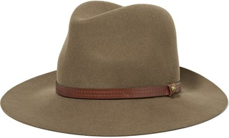 Rag & Bone Leather-trimmed Wool-felt Fedora
