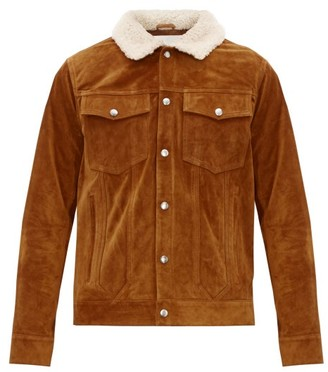 Frame Shearling-collar Suede Jacket - Mens - Beige