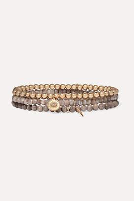 Sydney Evan Set Of Three 14-karat Gold, Wood, Moonstone And Diamond Bracelets