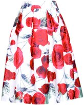 QIYUN.Z Women White Base Red Floral Printed Charming Pleated A-Line Retro Midi Skirts Jupes