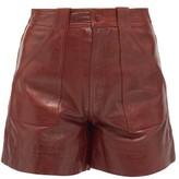 Ganni High-rise Leather Shorts - Womens - Burgundy