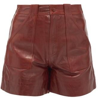 Ganni High-rise Leather Shorts - Burgundy