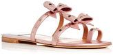 Laurence Dacade Kiki Metallic Pink Leather Sandals with Studded Bow Detail