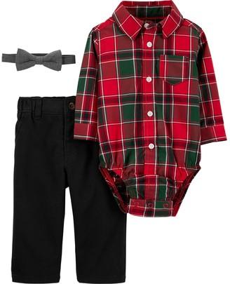 Carter's Baby Boy Red Plaid Dressy Bow Tie Set