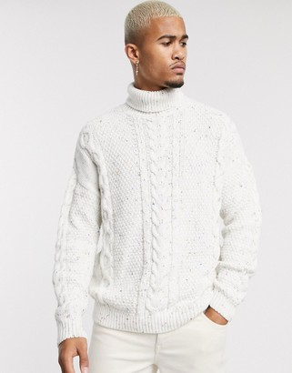 ASOS DESIGN chunky cable sweater with multi fleck neps in white