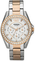 Fossil Women's 'Riley' Round Crystal Bezel Bracelet Watch, 38Mm