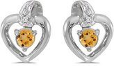 Direct-Jewelry 10k White Gold Round Citrine And Diamond Heart Earrings