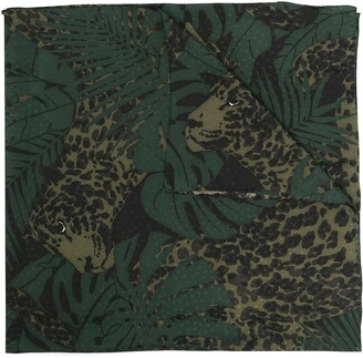 Saint Laurent Botanical Leopard Print Scarf