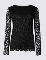 Marks and Spencer Sparkle Lace Long Sleeve Jersey Top