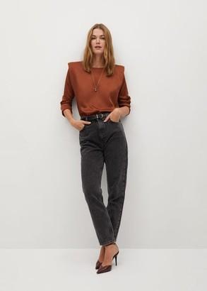 MANGO Satin shoulder pad blouse caramel - 2 - Women