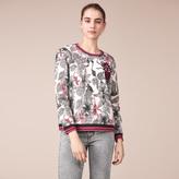Maje Printed cotton embroidered sweatshirt