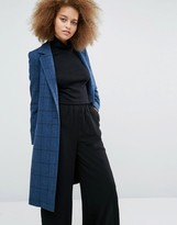 Helene Berman Longline Zoe Coat in Blue Check