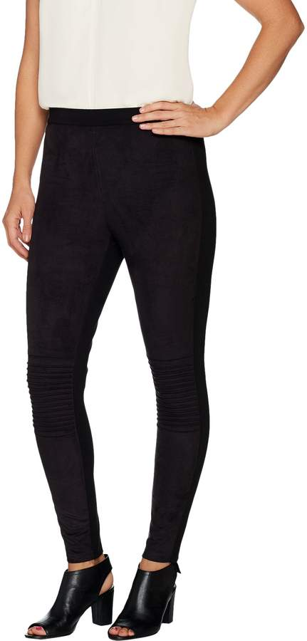 Halston H By H by Regular Faux Suede Motorcycle Detail Leggings