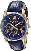 Akribos XXIV Men's AK864RGBU Multifunction Rose Tone and Blue Leather Strap Watch