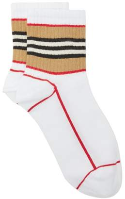 Burberry Icon-stripe Cotton-blend Socks - Womens - White