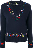 Love Moschino V-neck embroidered jumper - women - Polyamide/Viscose/Cashmere/Wool - 38