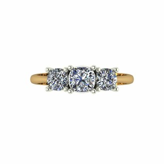Moissanite 9ct gold 1ct Cushion Centre Trilogy Ring