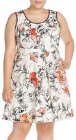 Adrianna Papell Print Scoop Neck Fit & Flare Dress (Plus Size)