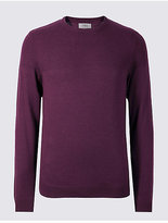 M&s Collection Cotton Blend Textured Crew Jumper