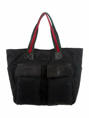 Gucci GG Canvas Web Tote Black
