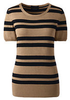 Classic Women's Petite Short Sleeve Supima Stripe Sweater-Vicuna Heather/Black Stripe