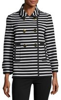 Kate Spade Striped Short Pea Coat, Black/Cream