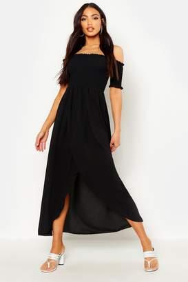 boohoo Off The Shoulder Shirred Maxi Dress