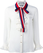 Gucci ruffle silk shirt - women - Silk/Cotton/Polyester/Viscose - 40