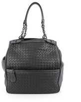 Bottega Veneta Pre-owned: Zip Pocket Shoulder Bag Intrecciato Nappa With Snakeskin.