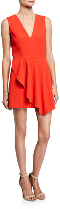 Alice + Olivia Callie V-Neck Sleeveless Asymmetric Drape Short Dress