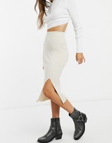 Thumbnail for your product : Monki Loa knitted midi skirt with slit in beige