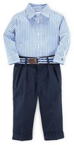 Ralph Lauren Striped Poplin Shirt w/ Pleated Pants, Blue, Size 9-24 Months