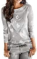 Twinsmall Clearance!Women's Long Sleeve Letter Printed Shirt Casual Blouse Loose Cotton Tops T-Shirt (, XXL)