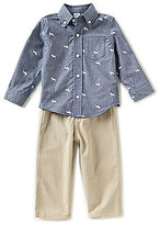 Little Me Baby Boys 12-24 Months Dog-Printed Chambray Shirt & Solid Pant Set