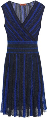 Missoni Wrap-effect Metallic Striped Crochet-knit Dress