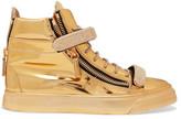 Giuseppe Zanotti Metallic Embellished Leather High-Top Sneakers