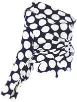 Awake polka-dot asymmetric blouse