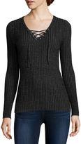 Arizona Long-Sleeve Ribbed Lace-Up Sweater - Juniors