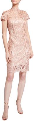 Tadashi Shoji Mock-Neck Cap-Sleeve Sequin Lace Dress