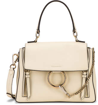 Chloé Small Faye Calfskin & Suede Day Bag in Off White | FWRD