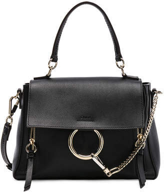 Chloé Small Faye Day Bag Calfskin & Suede in Black | FWRD
