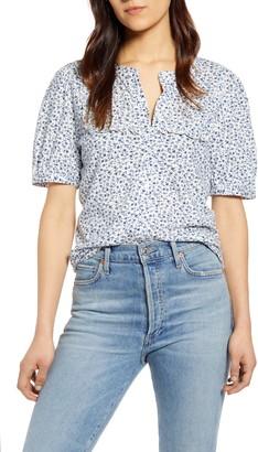 Lucky Brand Print Ruffle Bib Shirt