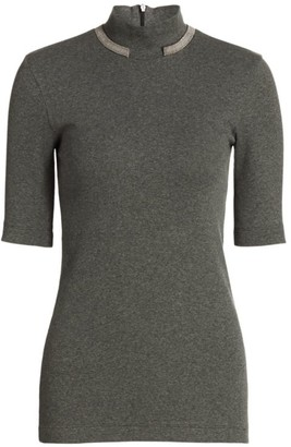 Brunello Cucinelli Monili-Trimmed Mockneck Top