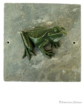 "American Chateau 8"" Indoor/Outdoor Metal Green Frog On Slate Wall Plaque Garden Art Hanging"