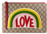 Gucci Embroidered Love Patch Gg Supreme Zip Pouch - Beige